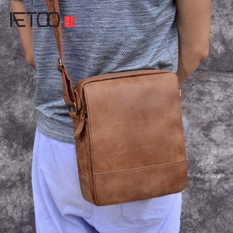 AETOO Retro Casual Cowhide Leather Men s Bag Shoulder Messenger Bag Head Layer Leather Men s