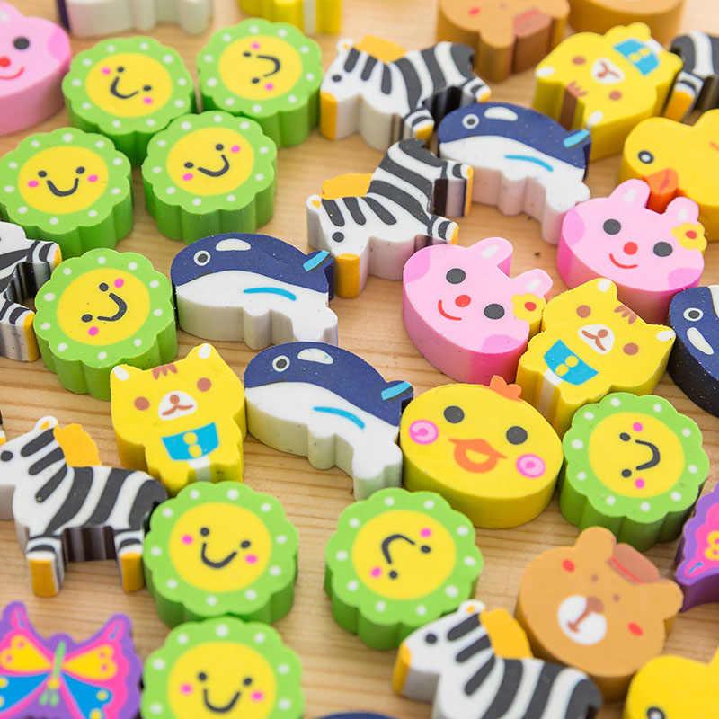 10 stücke Mini Kawaii Cartoon Tier Radiergummi Nette Höhlen oder Feste Gummi Radiergummi Zeichnung Korrektur Werkzeug Student Schreibwaren Versorgung