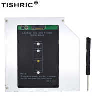 TISHRIC Caddy SATA 3.0 9.5mm M.2 M2 NGFF 2nd Second HDD SSD Hard Drive Disk Enclosure For Laptop DVD-ROM Aluminium Optibay Case