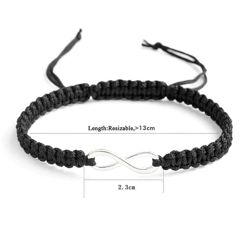 Qihe Sieraden 2Pcs Infinity Handgemaakte Armband Set Vriendschap Armband Set Infinity Liefde Koppels Armband Set Infinity Sieraden