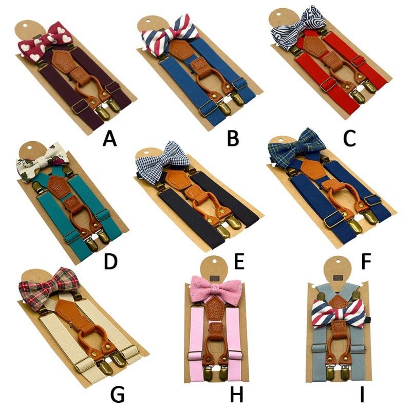 1PCS Kids Elastic Suspenders & Bow Tie Matching Boy Clothing Suit Boy Bowtie Children Costume Adjustable Y-Back Brace Belt