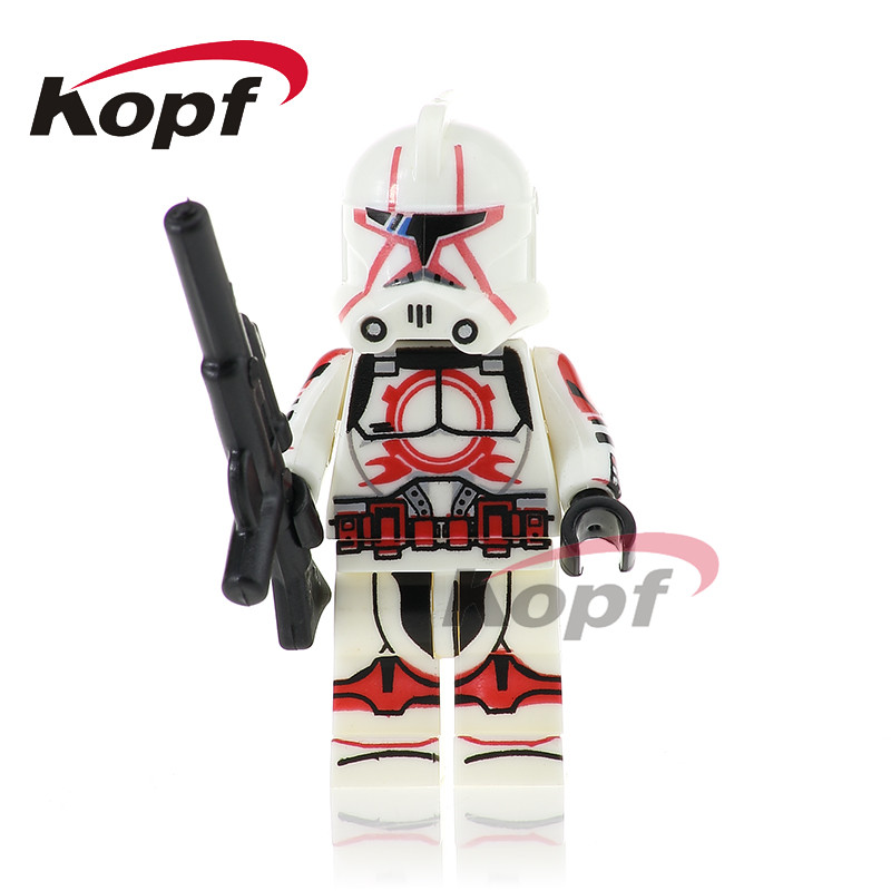 Single Sale Red Clone Soldiers Stormtrooper Yellow Utapau Clone Trooper Bricks Action Building Blocks Toys for children PG752 single sale star wars classic stormtrooper with blaster gun building blocks action sets model bricks toys for children
