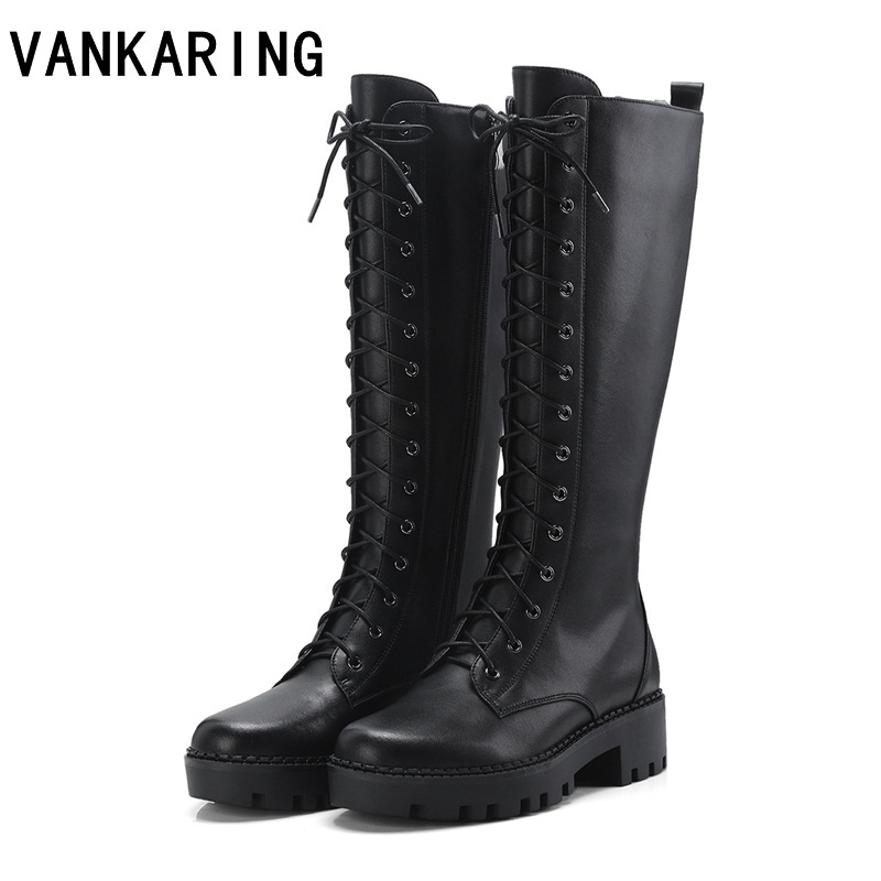 VANKARING autumn winter shoes genuine leather platform winter boot brand keep warm snow boots women high quality knee high boots цены