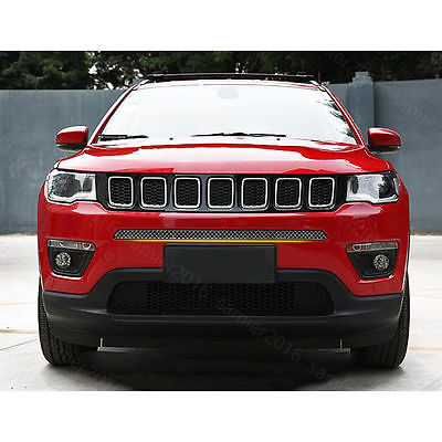 Stainless Steel Fit For Jeep Compass 2017 Front Bumper Grille Grill Cover Trim