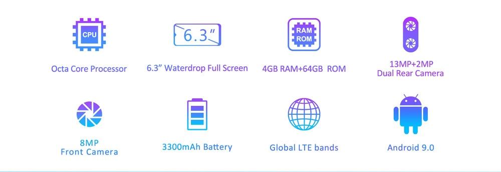 "HTB1LERbXebviK0jSZFNq6yApXXay LEAGOO S11 4GB 64GB Mobile Phone Android 9.0 6.3"" Waterdrop Display Helio P22 Octa Core 13MP Dual Camera Fingerprint Smartphone"
