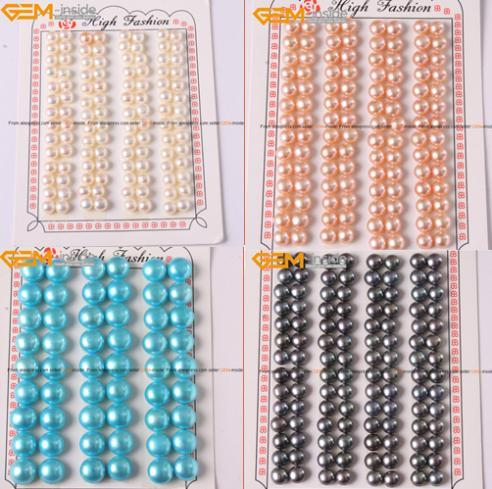 Cultured Pearl Beads Half Drilling Earrings 10mm Around White Blue Black Light Brown Beadsbaracelet Necklace  Free Shipping