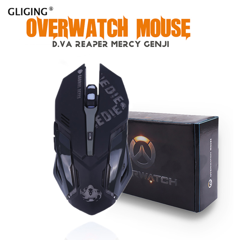 OW D va Mercy Reaper USB Wired Mouse 6 Button 2400 DPI Optica Breathing Gaming Mice