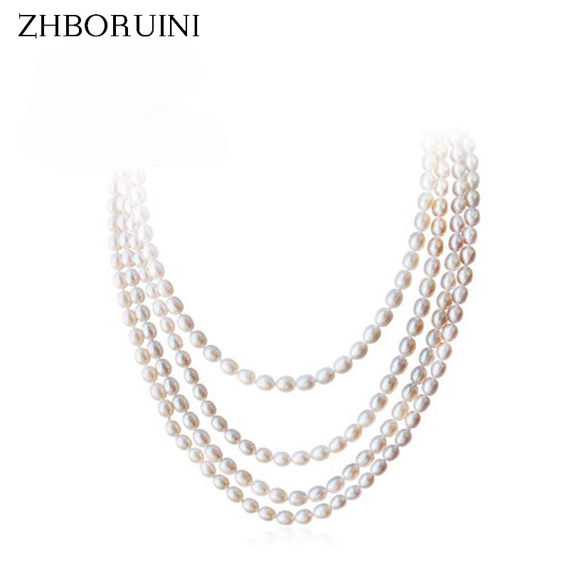 ZHBORUINI 2017 Fashion Long Multilayer Pearl Necklace Natural Freshwater Pearl Choker Charm Necklace Jewelry For Women Gift zhboruini fashion long multilayer pearl necklace freshwater pearl tassels women accessories statement necklace jewelry for women