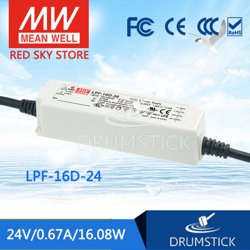 MEAN WELL LPF-16D-24 24V 0.67A meanwell LPF-16D 24V 16.08W Single Output LED Switching Power Supply [Real1] [mean well] original lpf 60d 30 30v 2a meanwell lpf 60d 30v 60w single output led switching power supply
