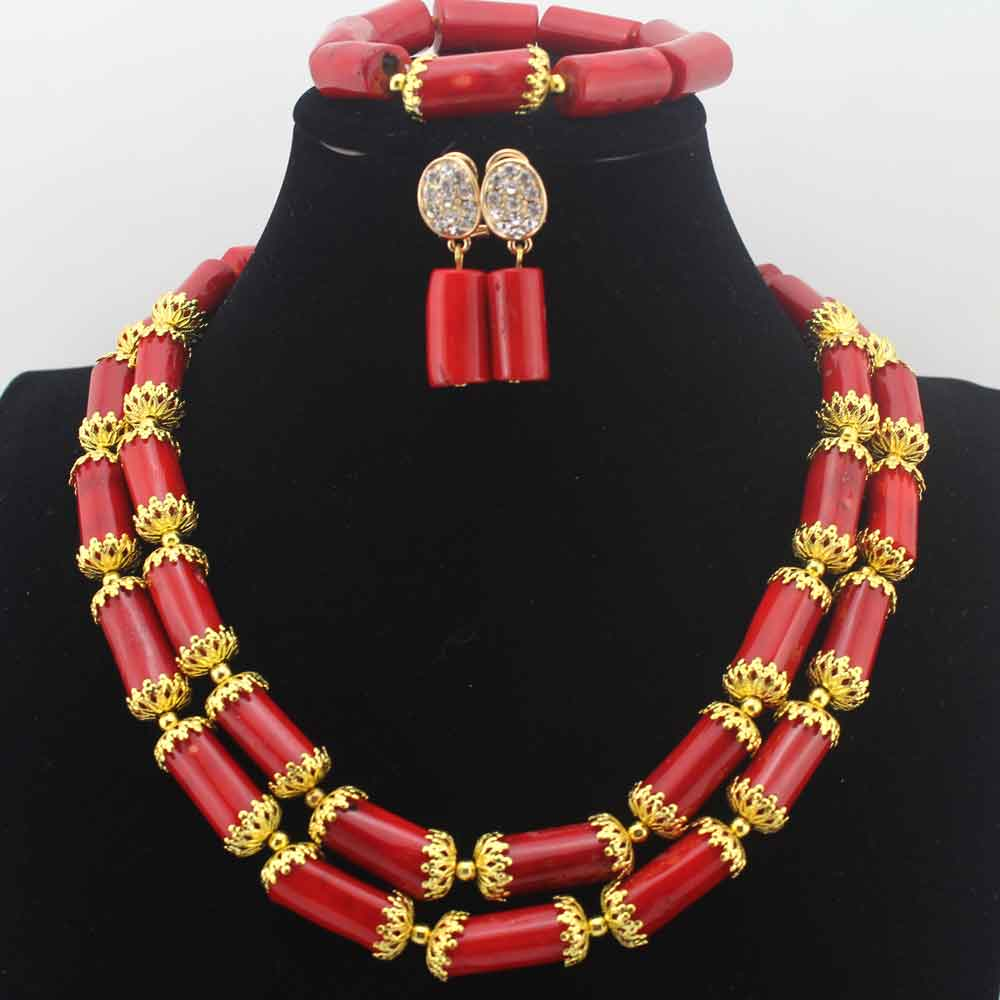 African Red Coral Beads Jewelry Set Christmas New Design African