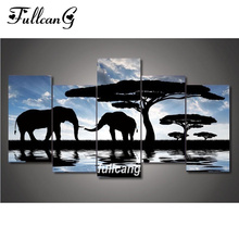 FULLCANG Black Elephant Tree Diy 5pcs Diamond Painting Cross Stitch Embroidery 5D Square Mosaic F1068