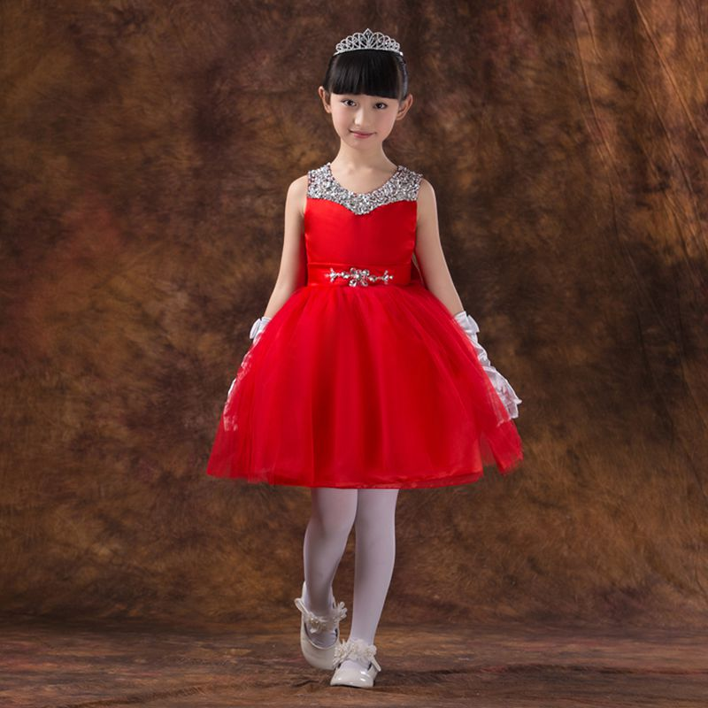 Kids Girls Dresses New Beading Princess Dress Knee-Length Ball Gown Flowers Girl Dress For Wedding Birthday Costume Party 2017 new flower lace girls dress princess dresses solid wedding dress girl clothing sleeveless ball gown girl costume kids ds003