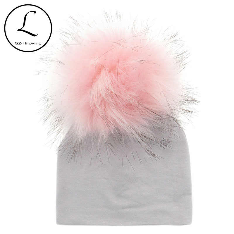 b46d8cc1228 Solid Cotton Newborn Hat Faux Fur Baby Cap Pompom Bobble Hat For Kids  Winter Boys And