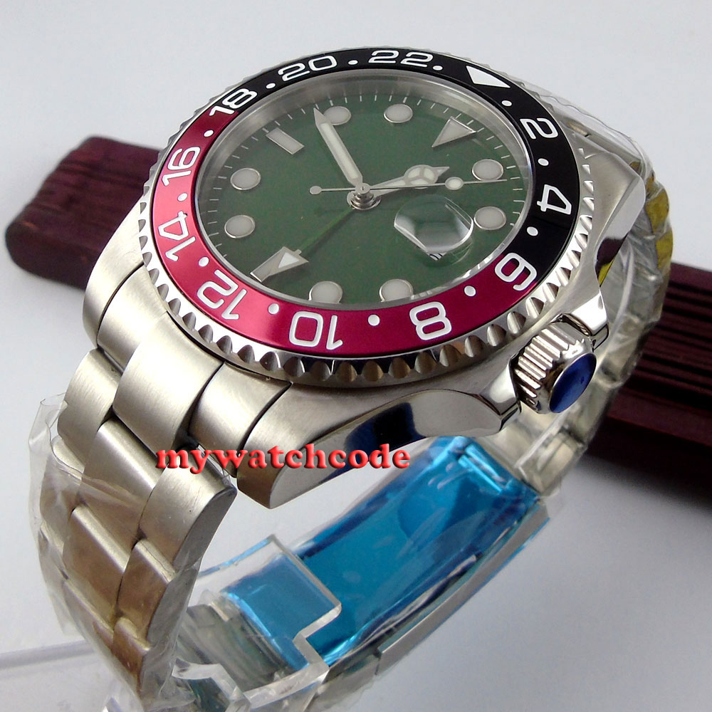 43mm bliger green olive dial date window GMT sapphire glass automatic movement mens watch P366 цена и фото