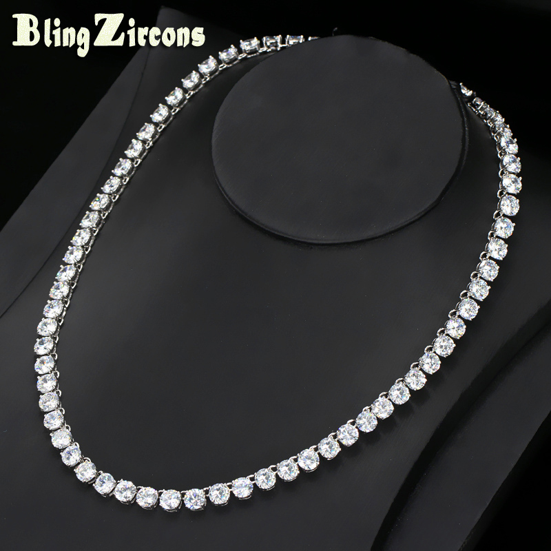 BlingZircons Full Cubic Zirconia Stone Setting Tennis Chocker Necklace Top Quality Silver Color CZ Indian Jewelry For Women N007