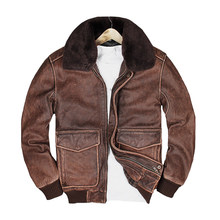 2018 Vintage Brown Men A2 Pilot Leather Jacket Europe Size XXXL Wool Collar Genuine Cowhide Aviator Leather Coat FREE SHIPPING