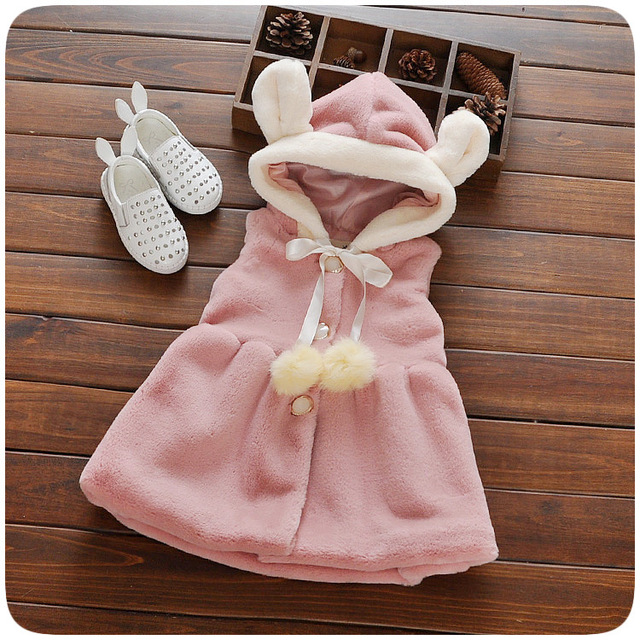 2017 New Baby Girls Waistcoat  Winter Warm Faux Fur Coats Cute Rabbit Stylish Hooded Toddler Girl Vests Warm Kids Girl Clothing