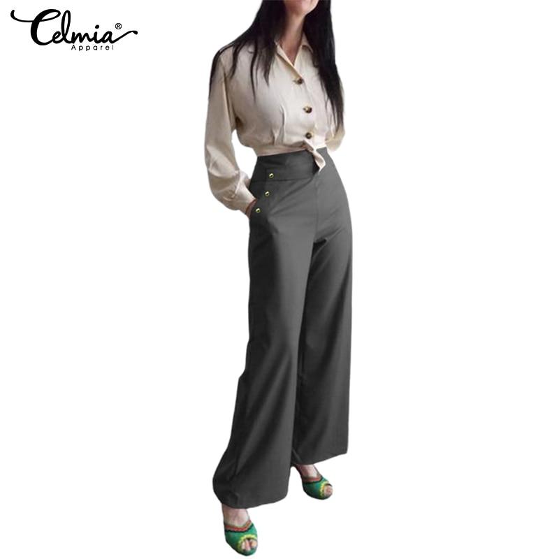 Celmia Women High Waist   Wide     Leg     Pants   2019 Fashion Trousers Casual Solid Long Pantalon Femme Office Ladies Palazzo Plus Size