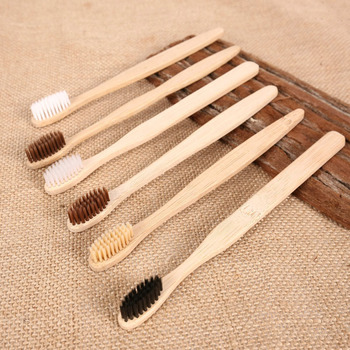 10PCS Personal Environmental Bamboo Charcoal Toothbrush For Oral Health Low Carbon Medium Soft Bristle Wood Handle Toothbrush