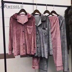 Image 1 - JRMISSLI hohe qualität 5XL Herbst Winter Warme Pyjama Set Frauen pyjamas Tiefe Gold Samt Homewear Pijama mujer Elegante nachtwäsche