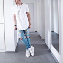 Man Si Tun Solid Color Curve Hem Casual Mens T-shirt Longline 2019 Summer Hip Hop T shirt Extended Street Tee Shirts for Men