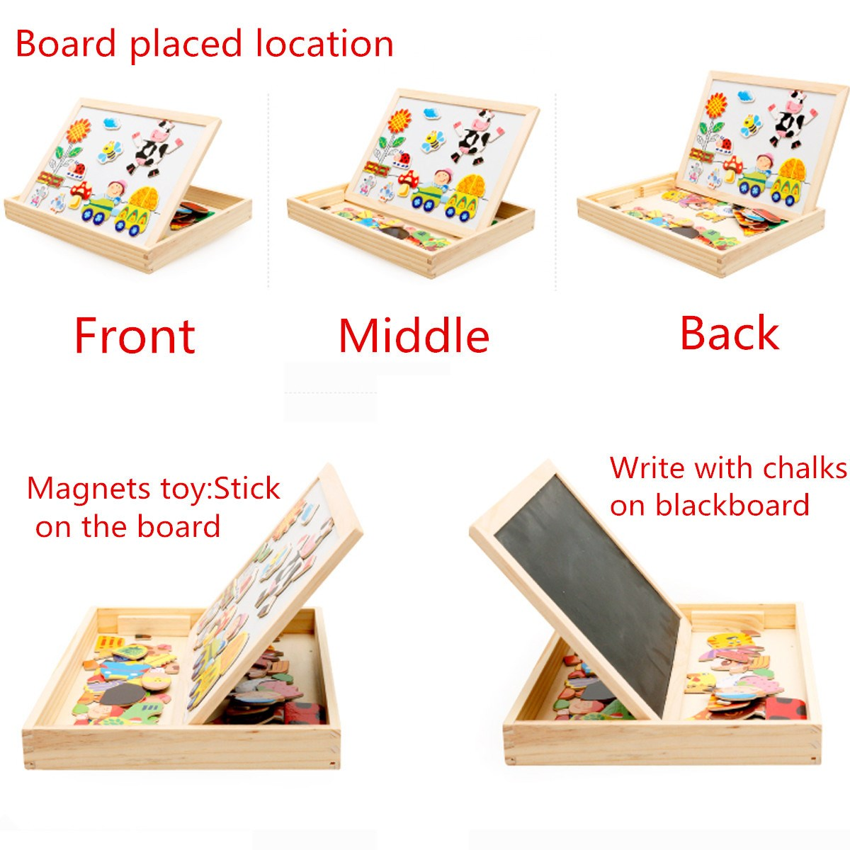 New-Arrival-Drawing-Writing-Board-Magnetic-Board-Puzzle-Double-Easel-Kid-Wooden-Toy-Gift-Children-Intelligence-Development-Toy-4