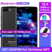Fast shipping for Christmas Blackview A20 Smartphones 18:9 5.5 inch Android Go dual Camera 1GB 8GB MT6580M 5MP 3G Mobile phone(China)