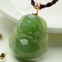 925 серебряные золотые из натуральных зеленый Хотан Yu резные Будды мотаться Лаки кулон Цепочки и ожерелья + сертификат Модные украшения для ж