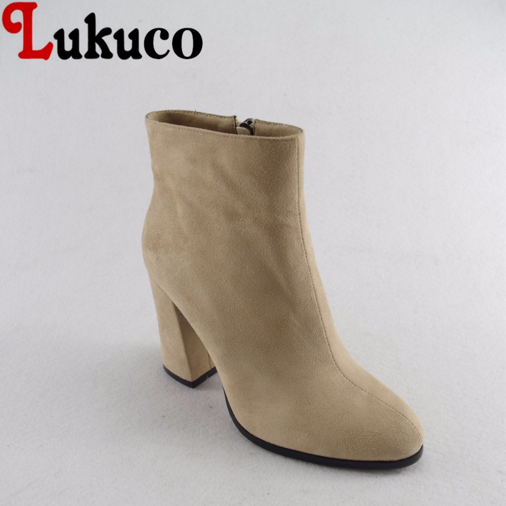 Lukuco pure color women nubuck leather boots microfiber made zip design high square heel shoes with short plush inside lukuco pure color women mid calf boots microfiber made buckle design low hoof heel zip shoes with short plush inside
