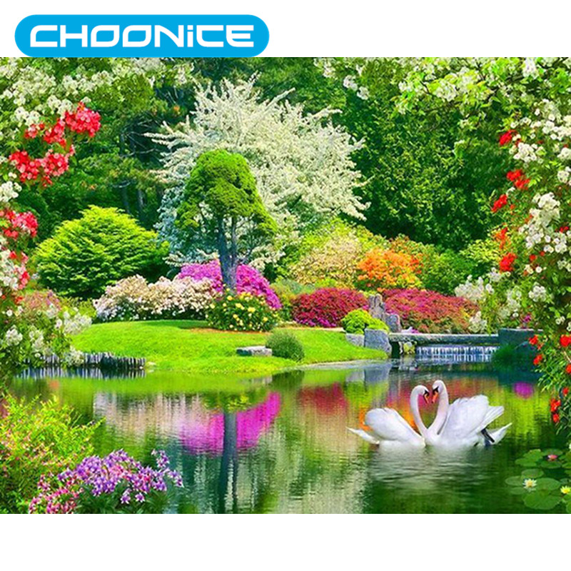 Round Diamond Painting Swans Garden Landscape DIY 3D Diamond Embroidery Flowers And Rivers Decorations A Picture Of Rhinestones