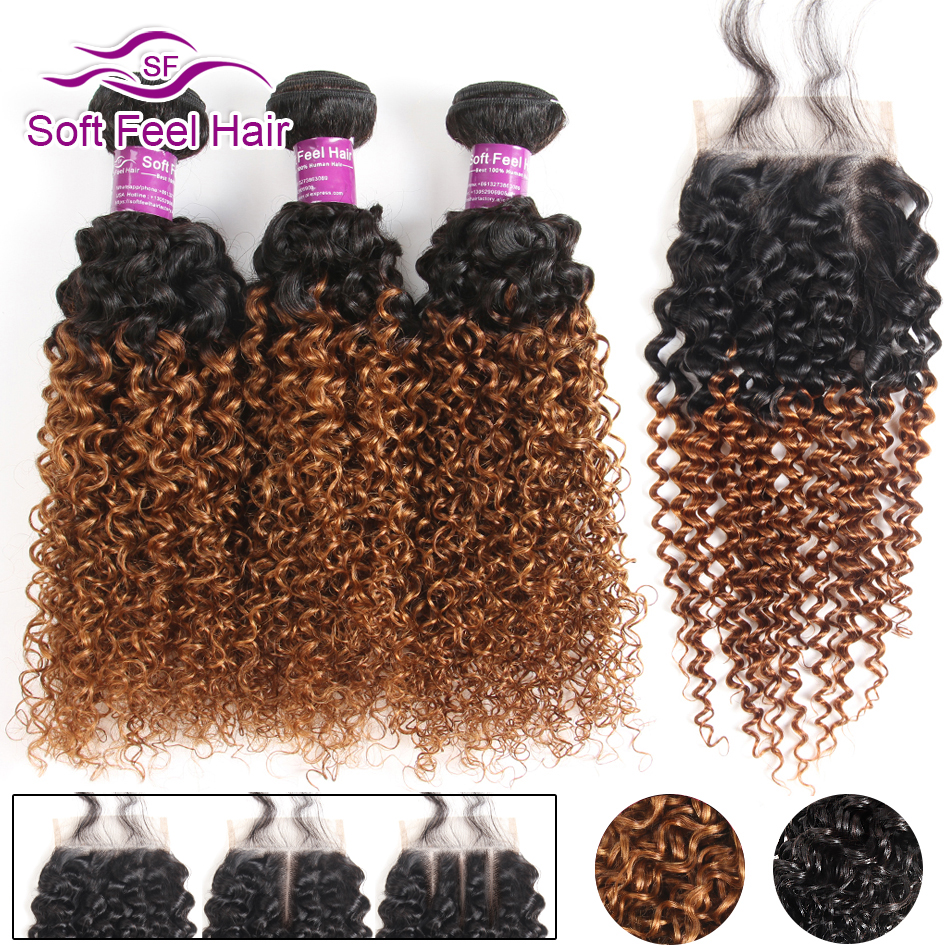 Soft Feel Hair Ombre Brazilian Kinky Curly Weave Human Hair 3/4 Bundles With Closure T1B/30 Ombre Bundles With Closure Remy Hair-in 3/4 Bundles with Closure from Hair Extensions & Wigs    1