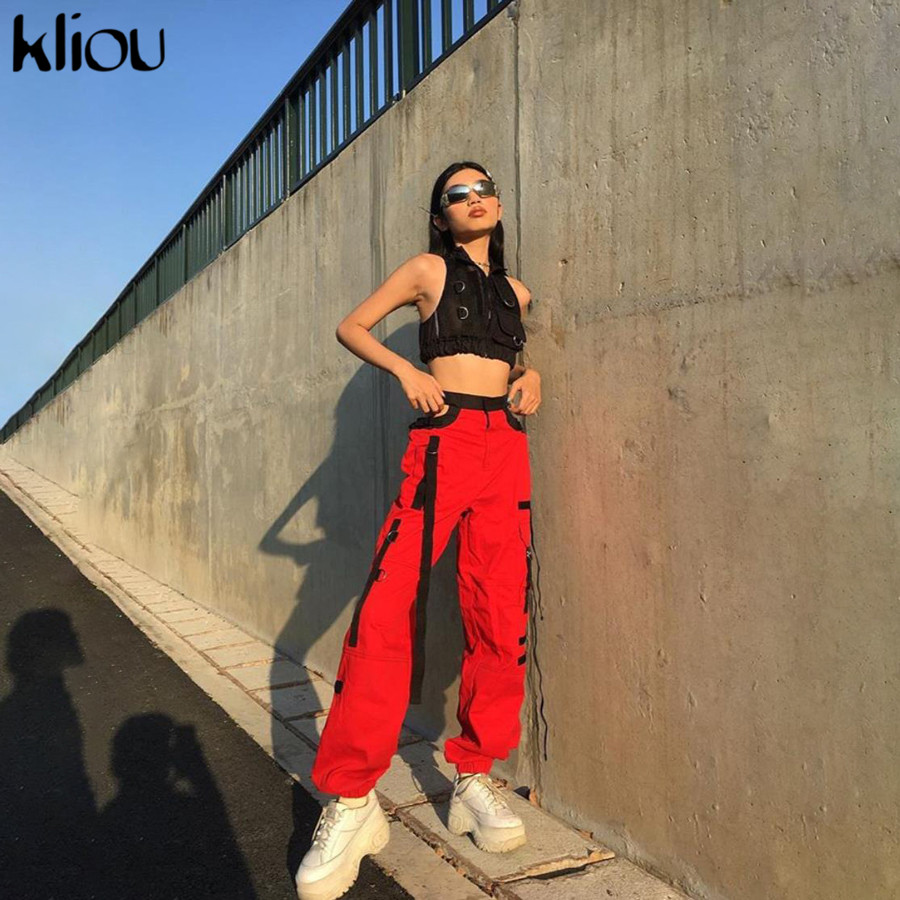 Kliou Women Sexy High Waist Hollow Out Pants 2019 Red Patchwork Pockets Button Fly Trousers Fashion Street Sexy Club Clothes