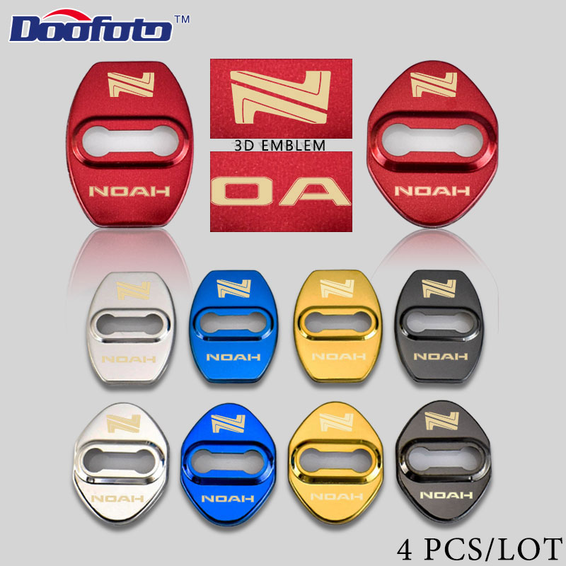 Doofoto 3D Design Emblems Car Styling Auto Decor Door Lock Cover Case For Toyota Noah Rav4 Corolla 2008 Avensis Accessories 4pcs
