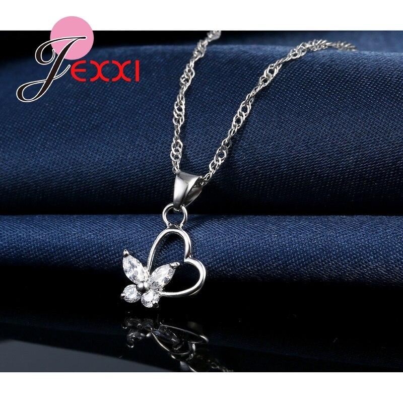 Jemmin Feine Top Qualität Frauen Zubehör Braut 925 Sterling Silber Kristall Herz Schmetterling Halskette Ohrringe Schmuck-Set Geschenk