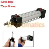 Free Shipping 40mm Bore 75mm Stroke Screwed Piston Rod Dual Action Standard Pneumatic Cylinder SC40 75