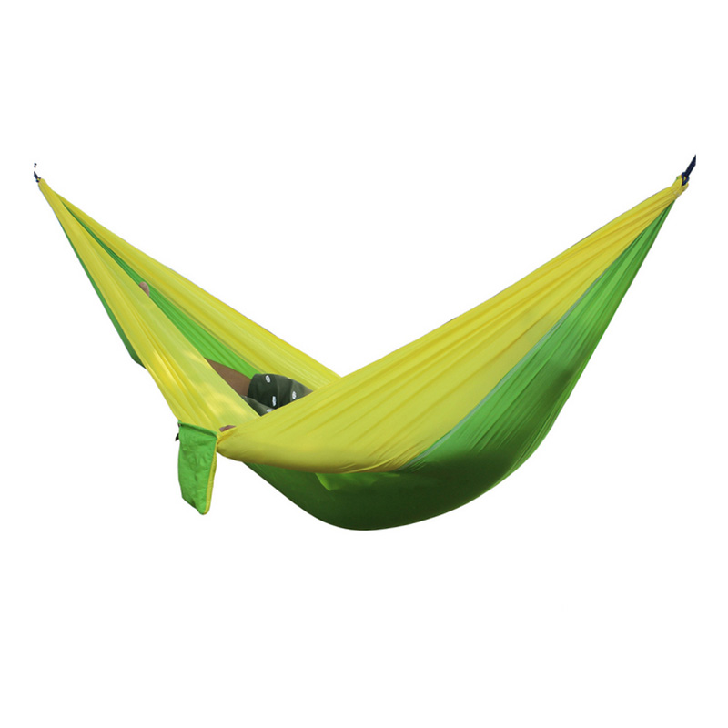 Best 2 People Portable Parachute Hammock for outdoor Camping(Fruit green with yellow side) 270*140 cm 2 people portable parachute hammock camping survival garden flyknit hunting leisure hamac travel for outdoor camping 270 140 cm