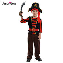 Umorden New Arrival Halloween Costumes for Boys Pirate Captain Costume Red Black Stripe Skull Cosplay Set Boy Kids