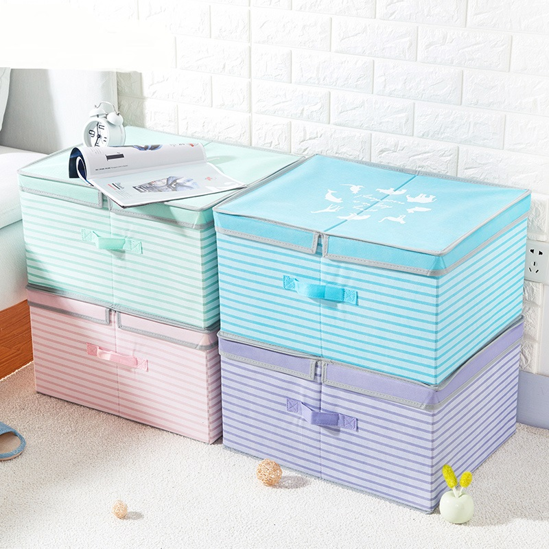 Non woven fabric folding box clothing finishing box large covered toy storage box storage box