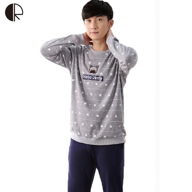 Cotton Long Sleeve O-neck Pajama For Men Spring Autumn Men Pajamas Set Women Sleepshirts Couple Sleepwear Homewear AP390