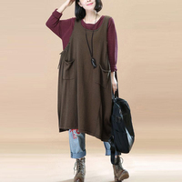 Female Sleeveless Vintage Retro Sundress Casual Loose Polo Strappy Dress Plus Size Dungarees Women Baggy Dress
