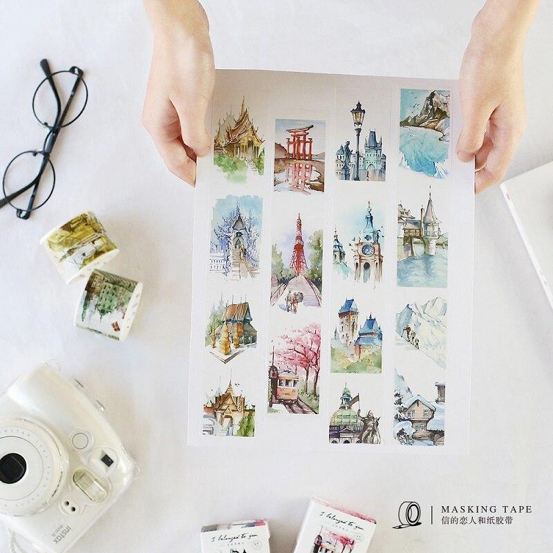 Travel Series UK US Thailand Turkey City Japanese  Washi Tape Descorative Paper Masking Tape DIY Adhesive Tapes