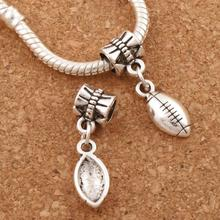 Soccer Rugby Football Sports Charm Beads 20pcs Antique Silver Fit European Bracelets B567 26.7x7mm