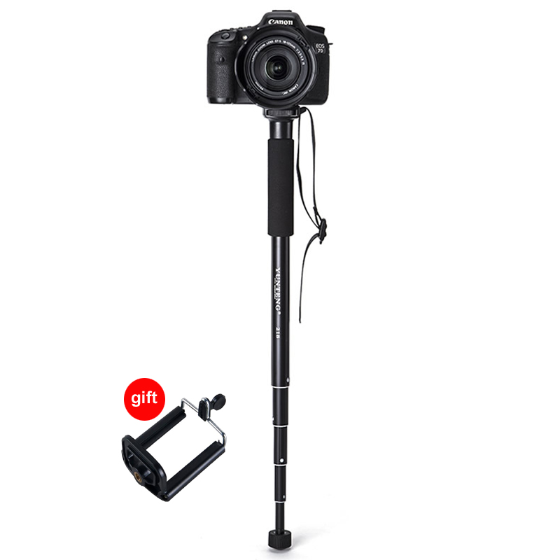 YT-218 Extendable 5 Section Aluminium Monopod Unipod for Canon Nikon Pentax Sony A7 A7R A7SII DSLR DV GH4 Canon EOS M5 Phone