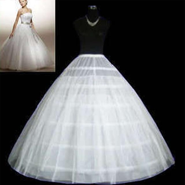 barato blanco 6 aros enagua del vestido de bola de tulle piso
