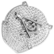 Men s white Gold Filled Lab font b Diamonds b font 3D Masonic Engagement Pinky Ring