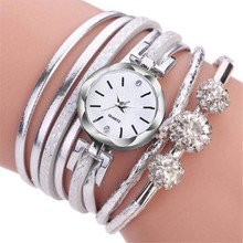 Womens Bracelet Watch Small Dial Fashion PU Fine Strap Exquisite Diamond Alloy Quartz