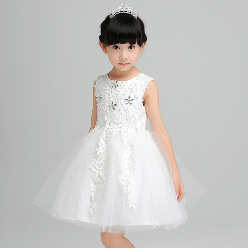 1-12Y royal princess dress beading knee-length girls pageant dress for party costume O-neck sleeveless flower girl dress