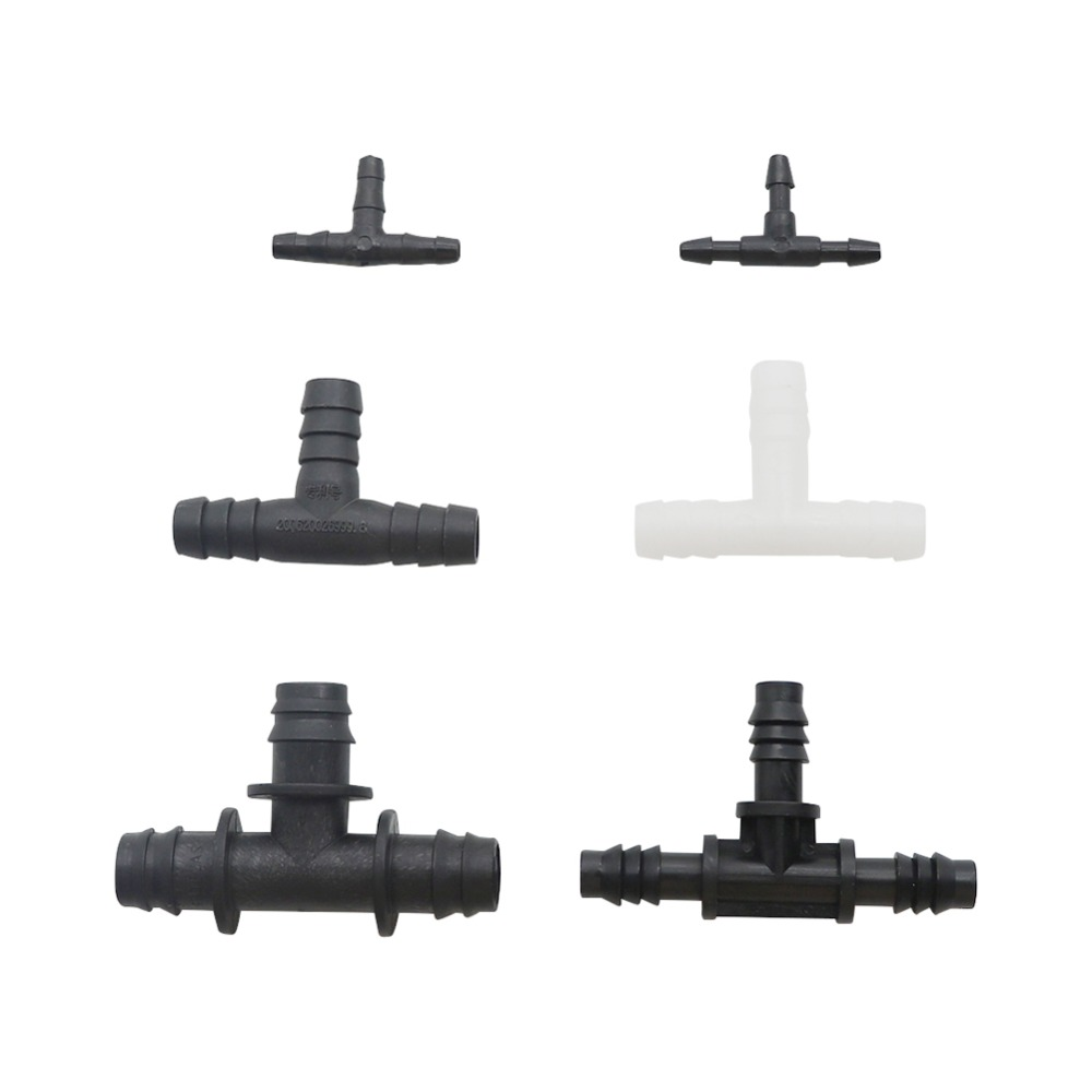 Plastic Barb Hose Fitting Tee Connector 3mm 4mm 8mm 10mm 13.5mm 3-Way Hose Joint Tube T-Shape Pipe Fittings 10 Pcs