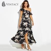 Vintacy Long Dress Black Print Floral Off Shoulder Ruffles Summer Beach Dress Women Pleated Elegant Party