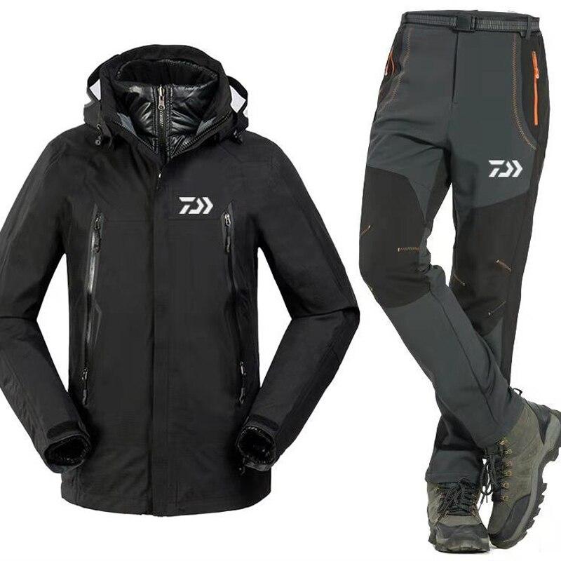 3 pz set Nuovo di Pesca Daiwa Set Abbigliamento Degli Uomini Caldi Sport All'aria Aperta Usura Set Vestiti di Pesca Giacca e Pantaloni Da Trekking Antivento